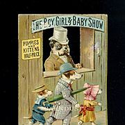 c1890s Raphael Tuck Die Cut Dressed Dogs, Baby Show, Advertises Banner Soap
