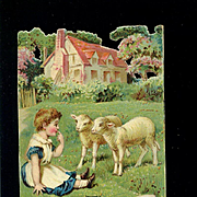 c1890s Raphael Tuck Die Cut, Field Babies, Girl with Lambs, Advertises Banner Soap
