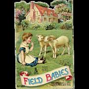 c1890s Raphael Tuck Die Cut, Field Babies, Girl with Lambs, Advertises Banner Soap