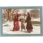 """1880s Large Early Christmas Card, Santa in Long Robe with Hood Greets Child """"May Christmas Smile on You"""" 5 x 7 inches"""