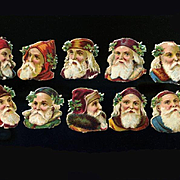 "Victorian Die Cut Santa Heads / St. Nicholas with Hoods, Caps, Holly 1-1/4"" Size, Group of 10 #401"