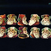 "Victorian Die Cut Santa Heads / St. Nicholas with Hoods, Caps, Holly 1-1/4"" Size, Group of 10 #402"