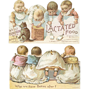 Babies and Cat Drink Lactated Food, Die Cut Double Sided Victorian Trade Card #1