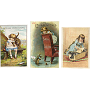 Little Girls with Kittens, 3 Victorian Trade Cards, Stoves, Thread, French Coffee