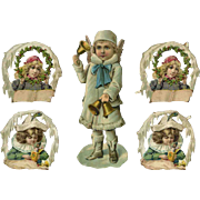 Victorian Die Cuts Christmas Angel and Girls, Holly, Snow     #431