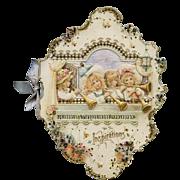 C.1897 Large Die Cut Embossed Poetry Booklet, Girls, Angels, Flowers
