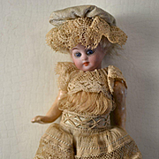 c.1890s-1900 French or German 4 in. Mignonette Type Bisque Head Doll, ALL Original Dress, Unders & Hat, Blue Glass Eyes, Open Closed Mouth, Molded Tongue
