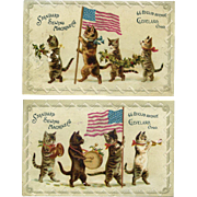 Patriotic Cat Band, Flag, Holly, Standard Sewing Machine Co, 2 Victorian Trade Cards
