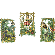 Victorian Die Cuts, Children in Garden with Pets, Intricate, Embossed  #462