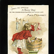 1896 Girl Doing Doll's Laundry, Maud Humphrey Illustrated Ivory Soap Victorian Trade Card