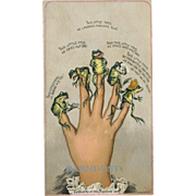 Lady Frog Fingers, Victorian Humor, Large Card