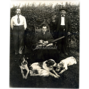 1890s Photo Victorian Lady with Shotgun, Pointer Brittany Hunting Dogs, Man w Parrot - Unique