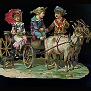 Children in Goat Drawn Carriage and Dog, Larger Embossed Victorian Die Cut