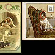 """Our Cat"" c.1895 Ernest Nister, 8 Full Page Chromolithos, Cats Dogs Children, Illustrated Wm Foster"