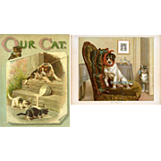 """""""Our Cat"""" c.1895 Ernest Nister, 8 Full Page Chromolithos, Cats Dogs Children, Illustrated Wm Foster"""
