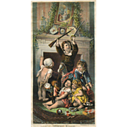 "c.1880s Print ""Christmas Morning"", Happy Children with Toys & Dolls"