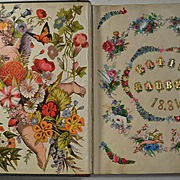 1884 Katie Rauber's Victorian Scrapbook, 75 Page Sides with Die Cuts, Kids, Ladies, Shells, Flowers, Cherubs, etc. Big Album  #4