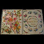 1884 Katie Rauber's Victorian Scrapbook, 75 Page Sides with Die Cuts, Kids, Ladies, Shells, Flowers, Cherubs, etc. Big Album  #4