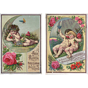 1881 Lovely Cherubs and Roses on 2 Florida Water Perfume Victorian Trade Cards