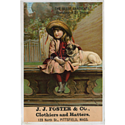 Litle Girl in Straw Hat Sits on Rail with Pet Pug, Victorian Trade Card , Clothiers and Hatters