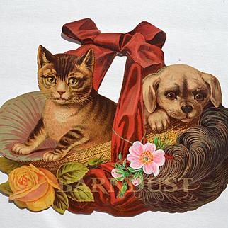 Large Victorian Die Cut, Puppy & Kitten in Straw Hat 11 x 9 inches