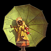c.1890s Large Die Cut, Little Black Girl with Doll Under Umbrella, Lord &  Taylor Advertising