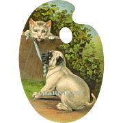 Cat & Puppy Tug on Blue Ribbon, Huge 1890's Die Cut Palette, Lord & Taylor Advertising