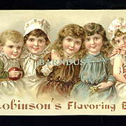 Cute Children, Doll, Our Mama's Use Robinson's Flavoring Extracts, Victorian Trade Card--Very Scarce