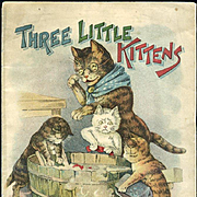 c.1895 Three Little Kittens, 5 Full Page Chromolitho of Anthropomorphic Cats, Scarce