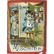Up To Mischief, Anthropomorphic Cats, Dogs, Animals, Illustrated by William Foster, 1889 McLoughlin Linen Book