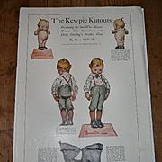c1913 Kewpie Kutouts, Rose O'Neill, Dotty Darling's Brother Dan, Woman's Home Companion Uncut Paper Dolls