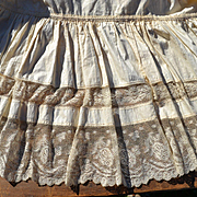 Ladies Victorian Petticoat, Full Sweep with Beautiful Gathered Lace Hem, Use of Doll Clothing