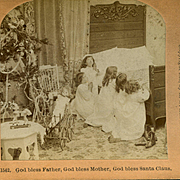 1897 Stereoview, Decorated Christmas Tree, Doll, Girls Ask God to Bless Santa Claus