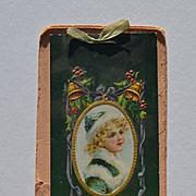 1907 Christmas Blotter Calendar, Embossed Holly, Bells, Pretty Girl