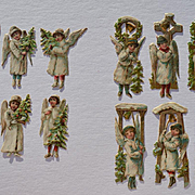 "15 Small Raphael Tuck Die Cut Christmas Angels, Group ""B"""