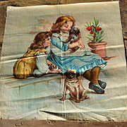 c.1900 Victorian Lithographed Pillow Top, Girls with Jealous Pug Puppy Dogs