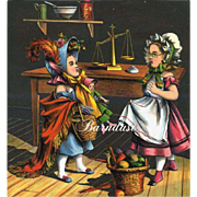 1870's Little Girls in Bonnets with Doll Dress, Shopping Like Mama, Early Chromo Print with Story Page (1)