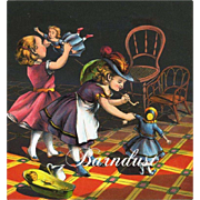 c.1870s Little Girls Playing with Dolls, Early Chromolitho Print from McLoughline Children's Book #2