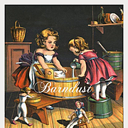 c.1870s Little Girls and Dolls Doing the Laundry, Early Chromolitho Print from McLoughlin Children's Book #3