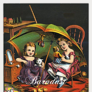 c.1870s Little Girls, Kitten, Doll Play Beneath Large Umbrella, Early Chromolitho Print from McLoughlin Children's Book #4