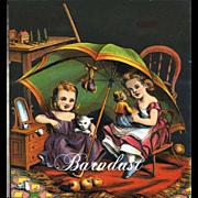 c.1870s Little Girls, Kitten, Doll Play Beneath Large Umbrella, Early Chromolitho Print from McLoughlin Children's Book #4