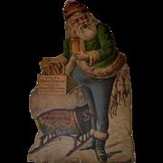 c1880s Santa Claus, Sleigh, Reindeer, Advertising Ayer's Cherry Pectoral Large Die Cut Sign