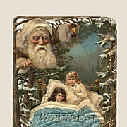 1880's Santa Claus Watching Over Children, Embossed Die Cut Advertising