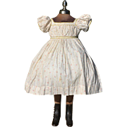 Small Child's Victorian Summer Dress, Pink Roses on White Cotton, Embroidered Featherstitching, Exc. Cond.