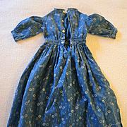 Antique Blue Calico Doll Dress
