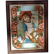 1910 Large Print of LIttle Girl With Mama Cat, Kittens, Roses, Offered With or Without Frame