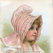 "1896 Frances Brundage, Girl in Pink Bonnet, ""English Daisy"" Original Print from Little Belles & Beaux"