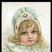 """1896 Frances Brundage, Girl in Blue Coat, """"Winter Princess"""", Original Print from Little Belles & Beaux"""