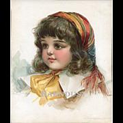 1896 Frances Brundage, Brown Eyed Girl in Pink, Original Print from Belles & Beaux