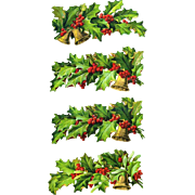 Victorian Holly Berry Die Cut Branches with Bells, Mistletoe